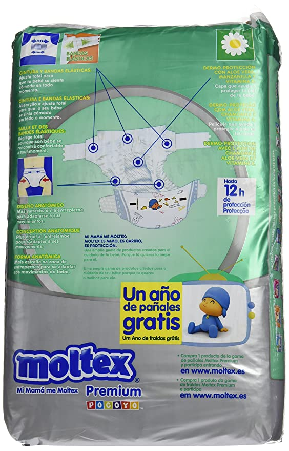 Moltex Premium Bolsa de Pañales Desechables - 60 Pañales: Amazon.es: Salud y cuidado personal