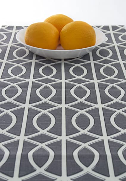 Grey And White Table Runner, Contemporary White And Gray 60u0026quot; Inch Table  Runner Table