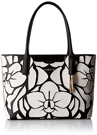 03e1b5f0ef1 Amazon.com: Calvin Klein Saffiano-Novelty Tote, Black/White Floral: Clothing