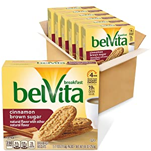 Belvita Cinnamon Brown Sugar Breakfast Biscuits, 6 Boxes of 5 Packs (4 Biscuits Per Pack)
