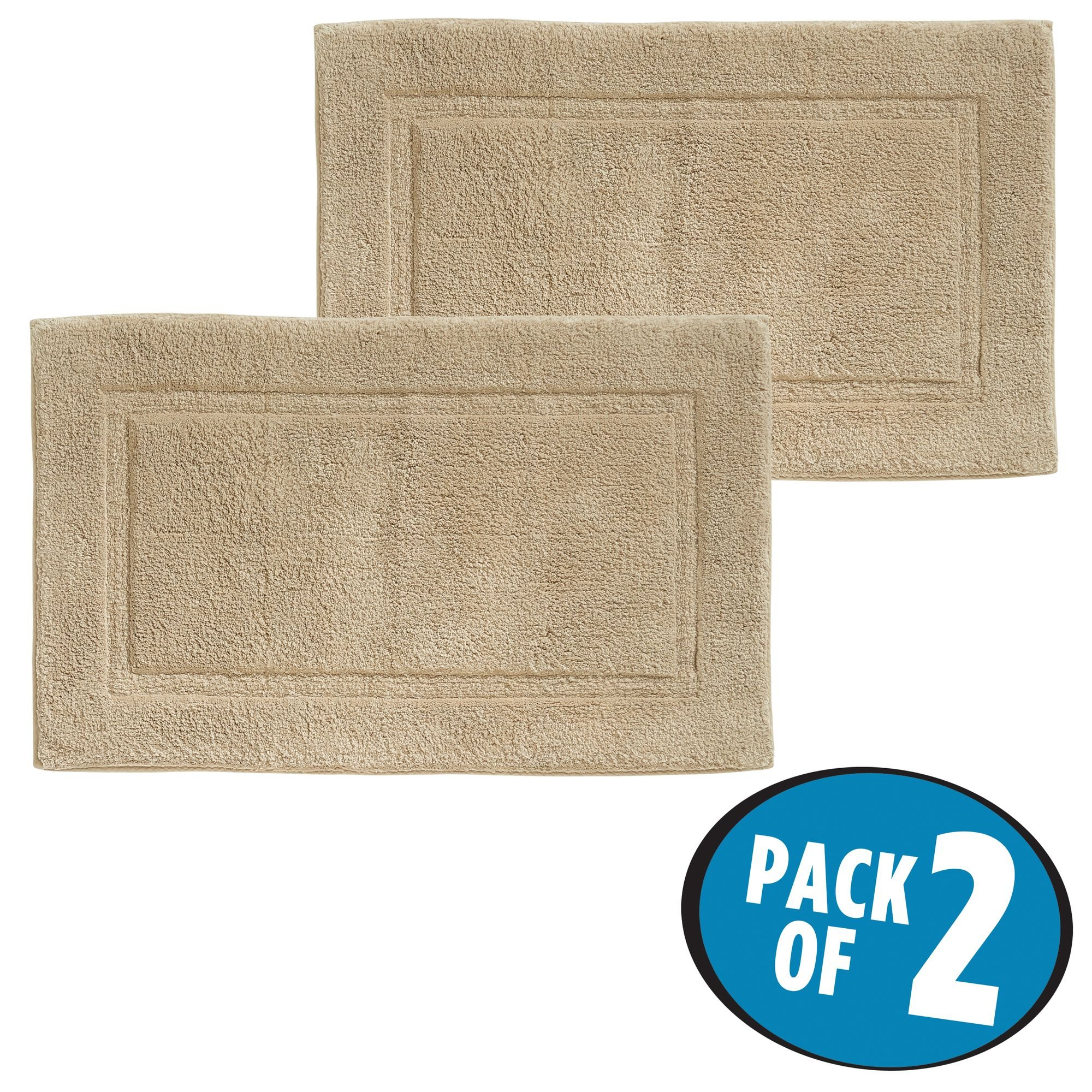 mDesign Soft 100% Cotton Luxury Hotel-Style Rectangular Spa Mat Rug, Plush Water Absorbent, Decorative Border - for Bathroom Vanity, Bathtub/Shower, Machine Washable - Pack of 2, Linen