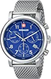 Wenger Urban Classic Chrono Men's Quartz Watch with Blue Dial Analogue Display and Silver Stainless Steel Bracelet 011043101