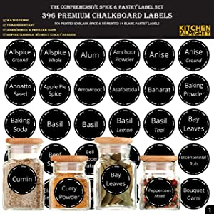 """396 Printed Spice Jars Labels and Pantry Stickers: Chalkboard Round Spices Label 1.5"""" & Pantry Sticker 3"""" X 1.5"""" With Write-On Labels – Include a Numbered Reference Sheet – Waterproof & Tear-Resistant"""