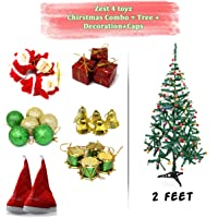 Zest 4 Giftz Christmas Tree with Tree Decoration Set for Christmas Home Decor (Balls, Bells, Gifts, Drums, Candy Sticks & Santa Claus)
