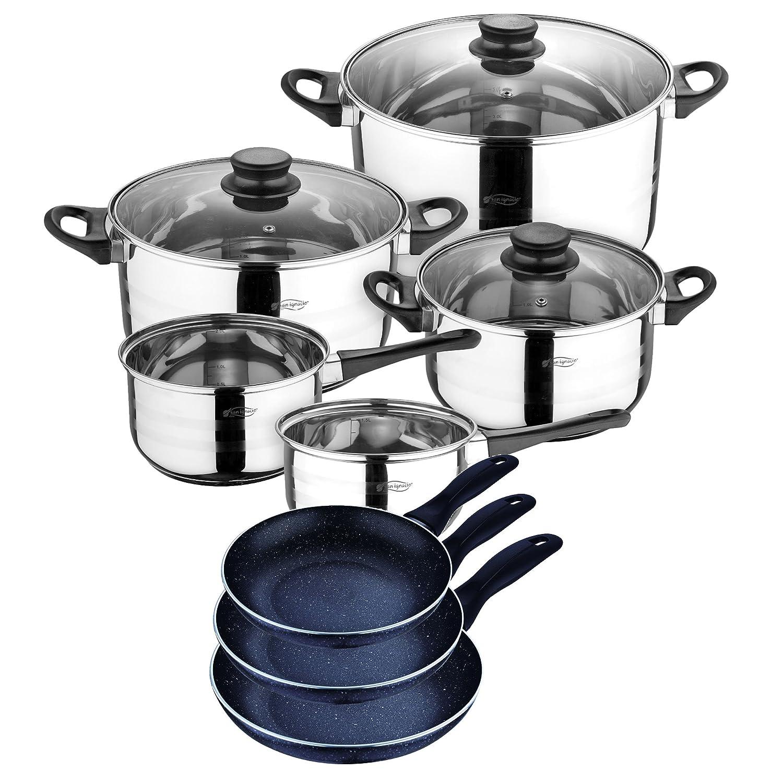 San Ignacio Set de Batería de Cocina y Juego de Sartenes, Aluminio, Negro, 24 cm
