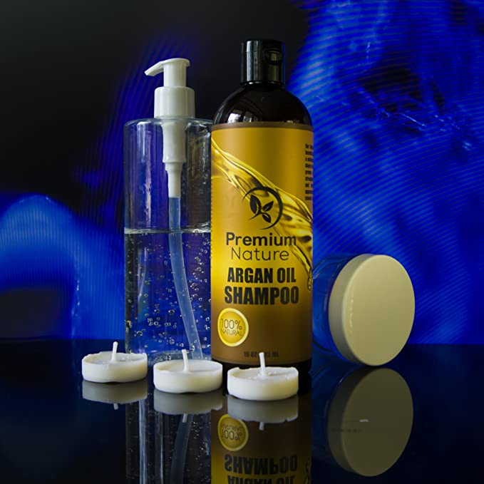 Argan Oil Daily Shampoo 16 oz, All Organic, Rejuvenates Heat Damaged Hair, Nourishes & Prevents Breakage, Sulfate Free, Vitamin Enriched Formula by Premium ...