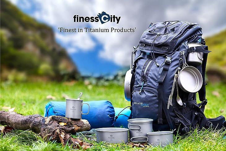 Titanium Camping Cookware Set / Pot & Pan Outdoor Cooking Equipment mess kit, Strong Lightweight Travel / Hiking / Camping