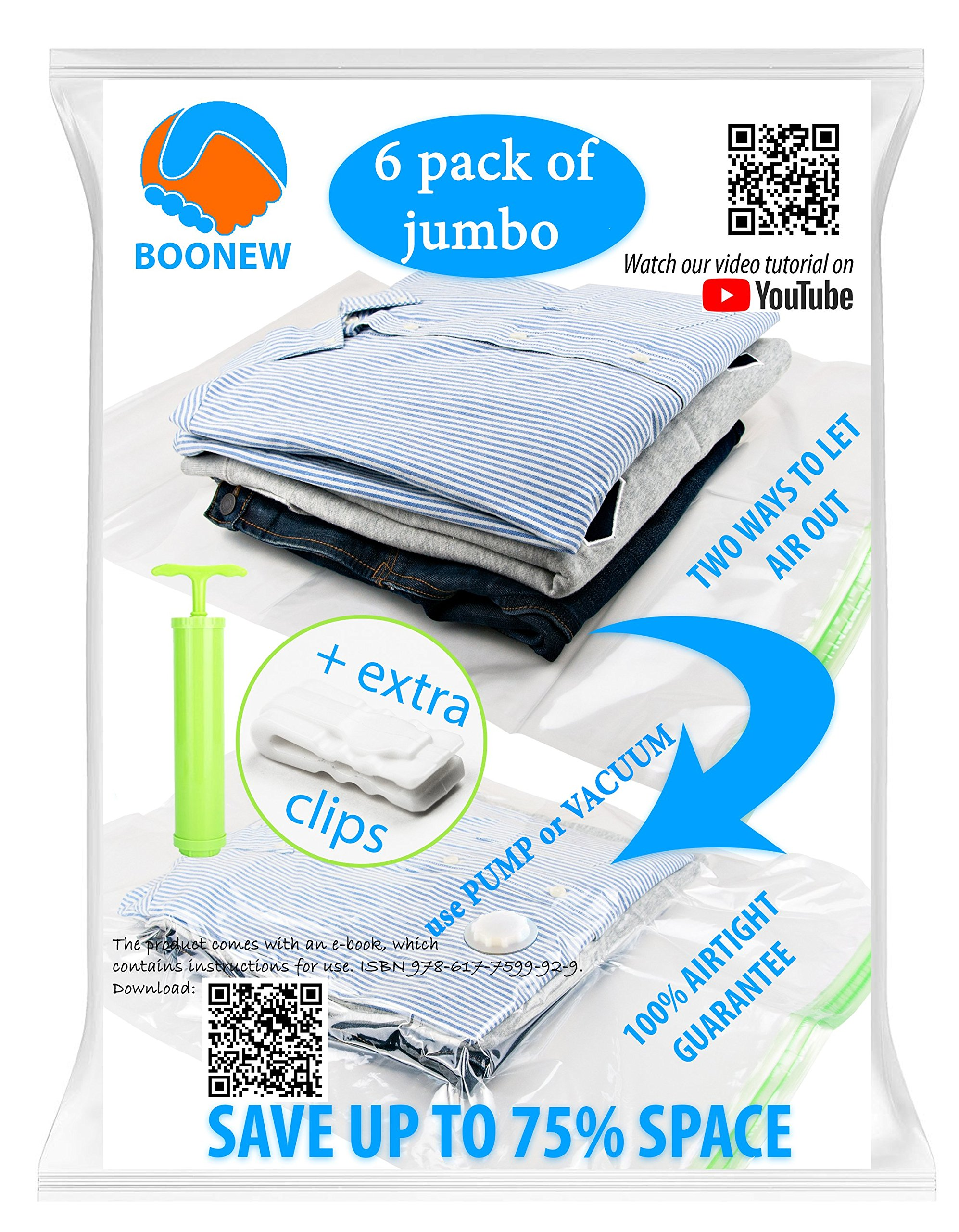 """Boonew Durable 6 Jumbo Vacuum Storage Bags for Clothes, Bedding, Pillows, Space Saver Compression Sacks Size 28x40"""" (Pack of 6)"""