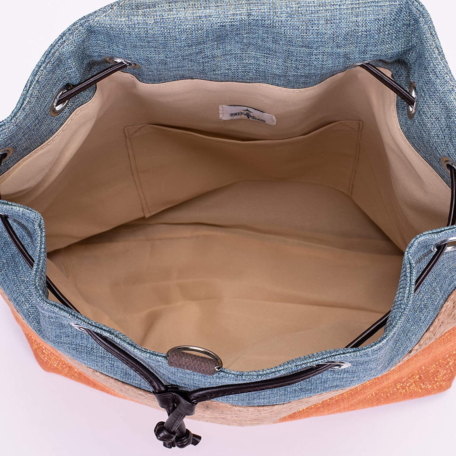 Blue and Orange Canvas and Cork 17 x 14 inch Backpack Bag First /& Main 50063