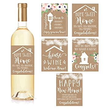 5 Rustic House Warming Presents New Homeowner Stickers Or Wine Label Gift Set Ideas