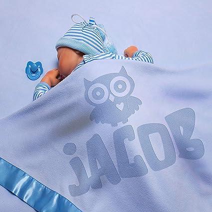PERSONALISED FLEECE BLANKET BOYS NEWBORN BABY SHOWER GIFT BLUE CHILDS LITTLE OWL