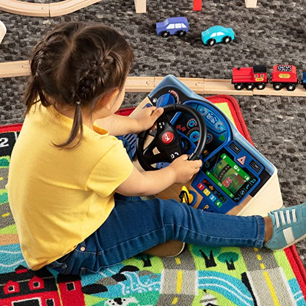 Melissa & Doug Vroom & Zoom Interactive Wooden Dashboard pretend play preschool learning toy for kids