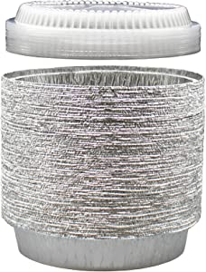 9 Inch Round Tin Foil Pans with Clear Plastic Lids - Freezer & Oven Safe Disposable Aluminum - For Baking, Cooking, Storage & Reheating - Pack of 40 - By MontoPack