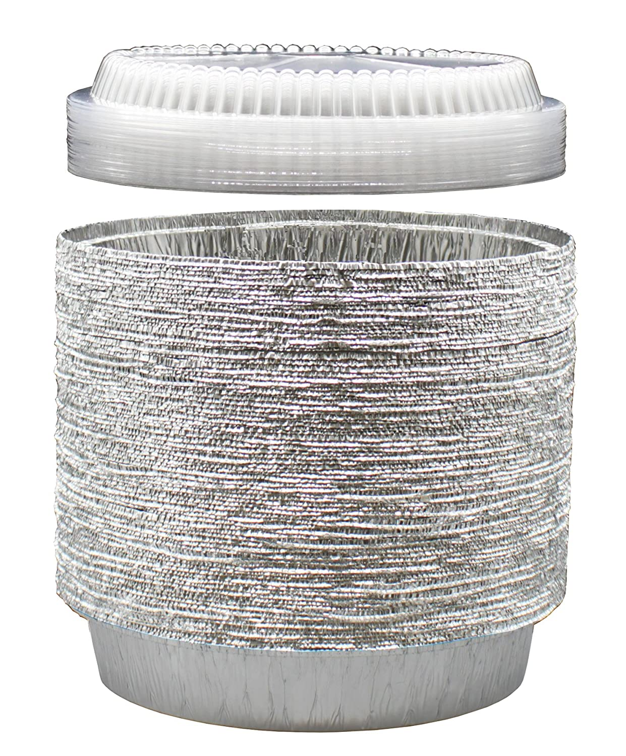 9Inch Round Tin Foil Pans with Clear Plastic Lids- Freezer & Oven Safe Disposable Aluminum - For Baking, Cooking, Storage & Reheating - Pack of40 - By MontoPack