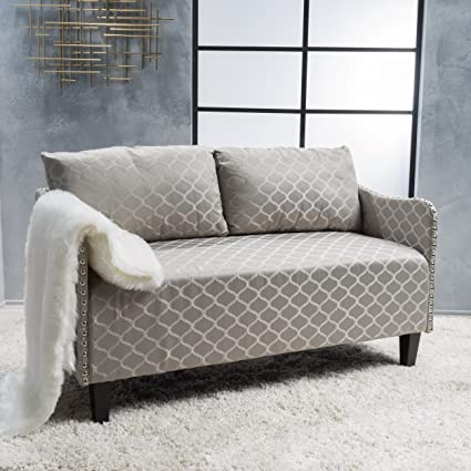Pleasant Christopher Knight Home 300109 Adira Loveseat Grey Patterned Machost Co Dining Chair Design Ideas Machostcouk