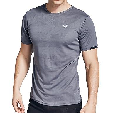 WHCREAT Maglietta Sportiva da Uomo Sports T-Shirt Manica Corta da Uomo