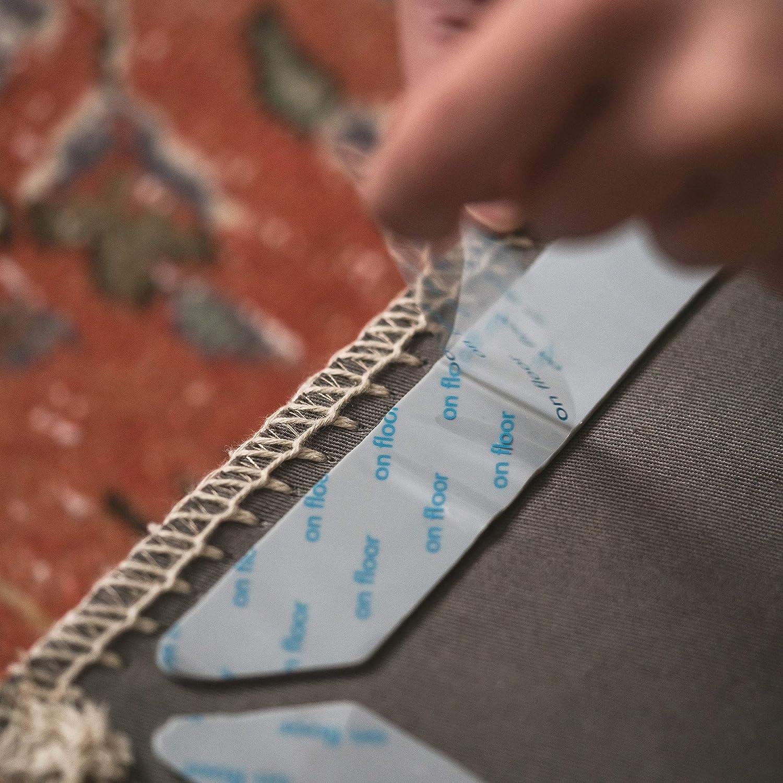 Adhesive No Skid Anti Slip Pad for Hardwood or Laminate Floors Non Slip Rug Gripper Pads 8 Reusable Corner Carpet Tape Grippers Sticky Nonslip Grip Anchors for Never Curl Area Rugs /& Runner Edges Ledgebay