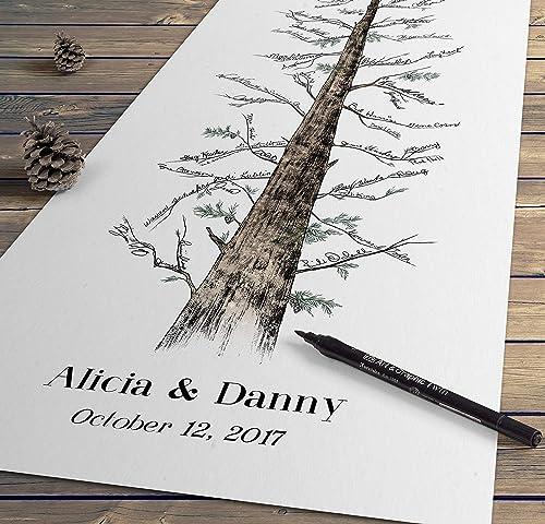 Wedding guest book Wedding tree guest book Rustic wedding guest book Tree of life guest book feather pen Pen holder wedding tree,