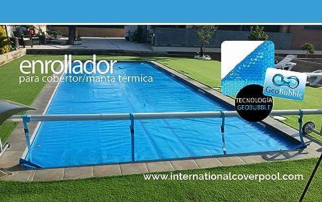 Vidaxl rullo di copertura per telo piscina con base in acciaio inox