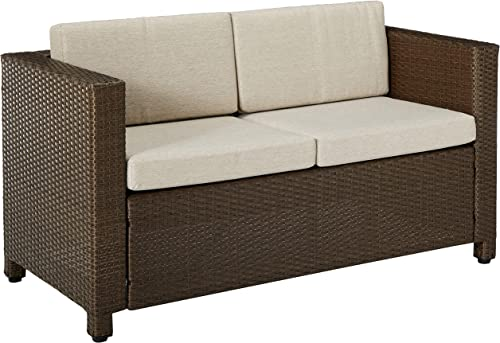 Christopher Knight Home Puerta Outdoor Wicker Loveseat with Cushions, Brown Ceramic Grey Cushions