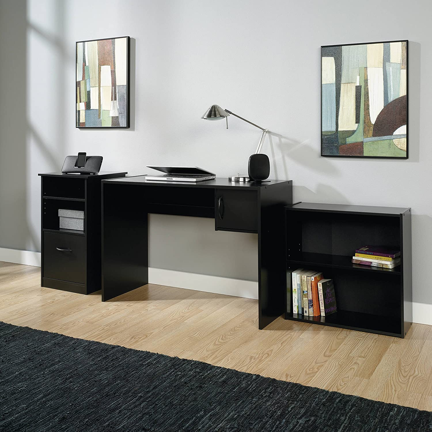 3 piece executive furniture office set matching bookcase desk and cabinet with an elegant black finish classic workstation design perfect for organizing