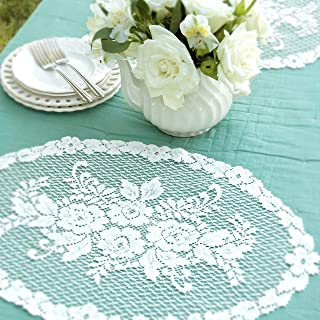 """product image for Heritage Lace Victorian Rose Placemat, 13"""" x 20"""", White"""
