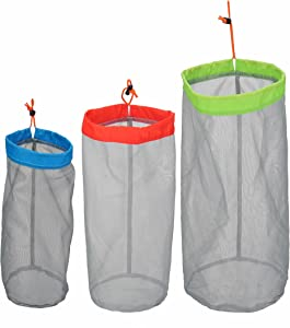 Stuff Sack Set of 3 Lightweight Nylon Mesh Drawstring Storage Bag for Travelling Hiking