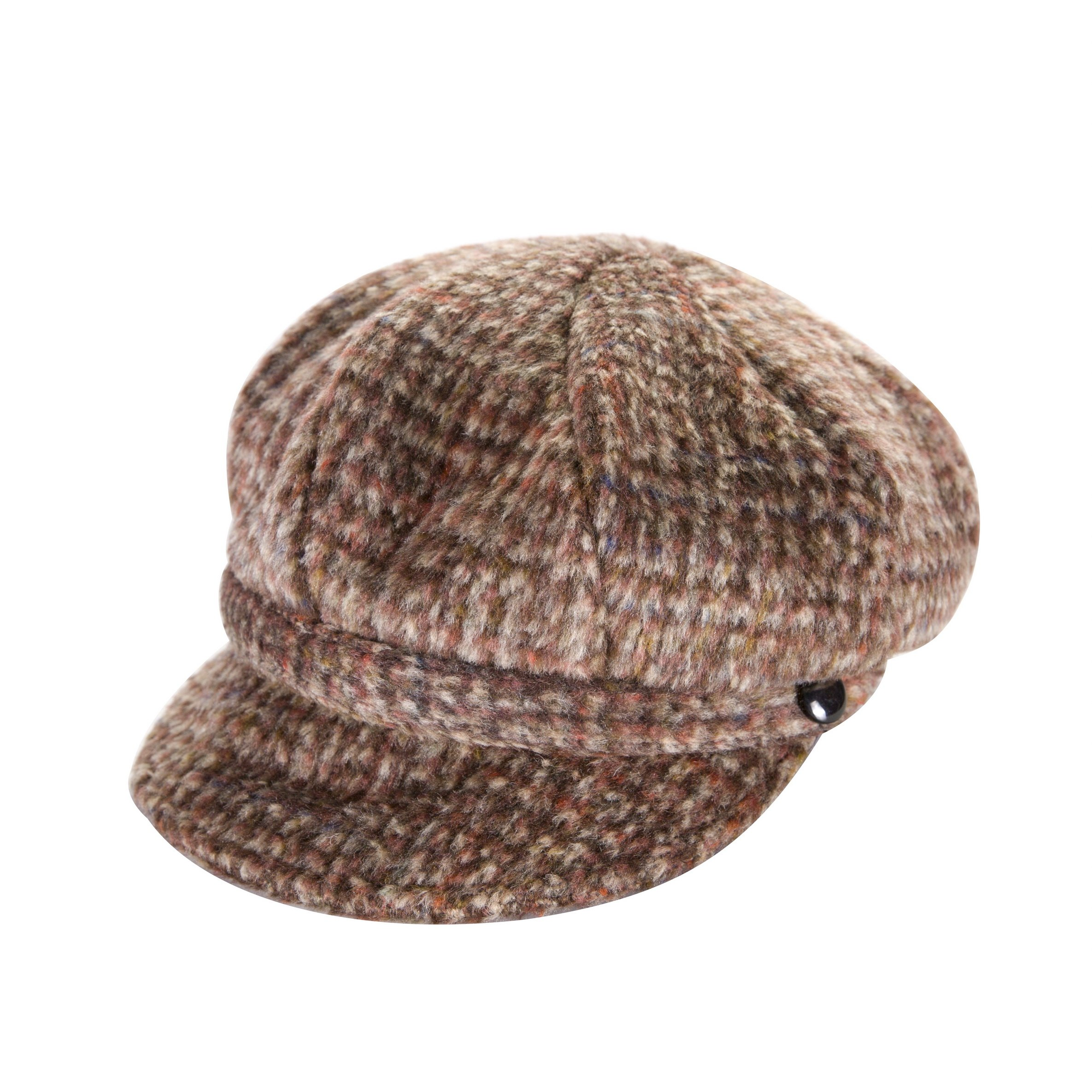 Heritage Traditions Womens Tweed Wool Peaked Newsboy Cap Hat (Brown) by Heritage Traditions