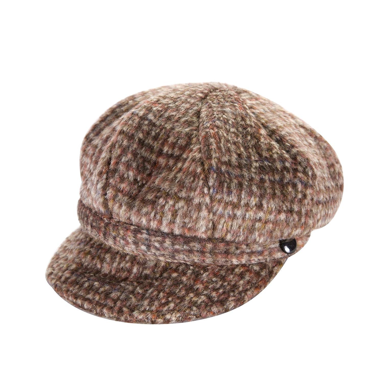 Heritage Traditions Womens Tweed Wool Peaked Newsboy Cap Hat