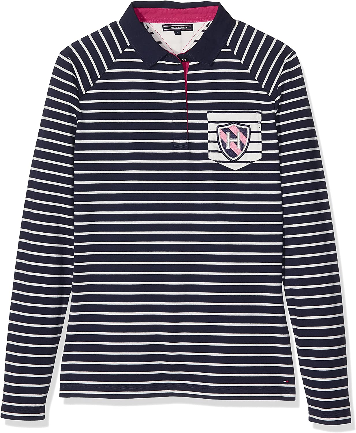 Tommy Hilfiger TOMASA Rugby Polo LS Manga Larga, Multicolor (Navy ...