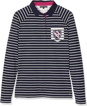 Tommy Hilfiger TOMASA Rugby Polo LS Manga Larga, Multicolor (Navy ...