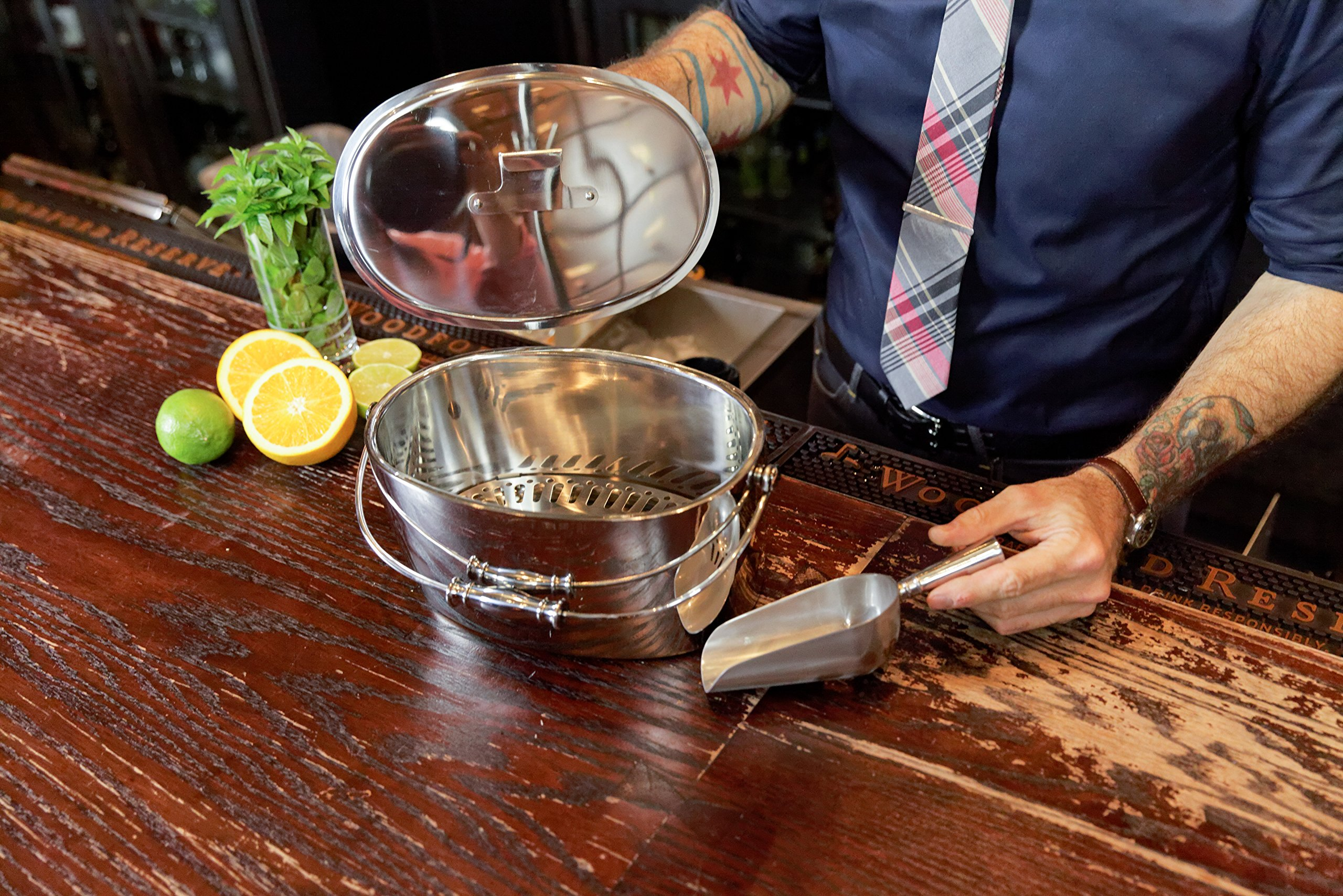 Crafthouse by Fortessa Professional Metal Barware/Bar Tools by Charles Joly, 12'' x 5.25'' Stainless Steel Ice Bucket with Handle and Drain Tray by Crafthouse by Fortessa (Image #2)