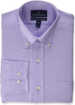 Marca Amazon - BUTTONED DOWN – Camisa de vestir de tejido pinpoint con botones en el cuello de corte clásico, de algodón Supima para hombre que no ...