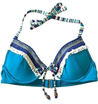 851f273424366 Lucky Brand Women's Mumbai Magic Underwire Halter Bra Bikini Top Blue Moon M