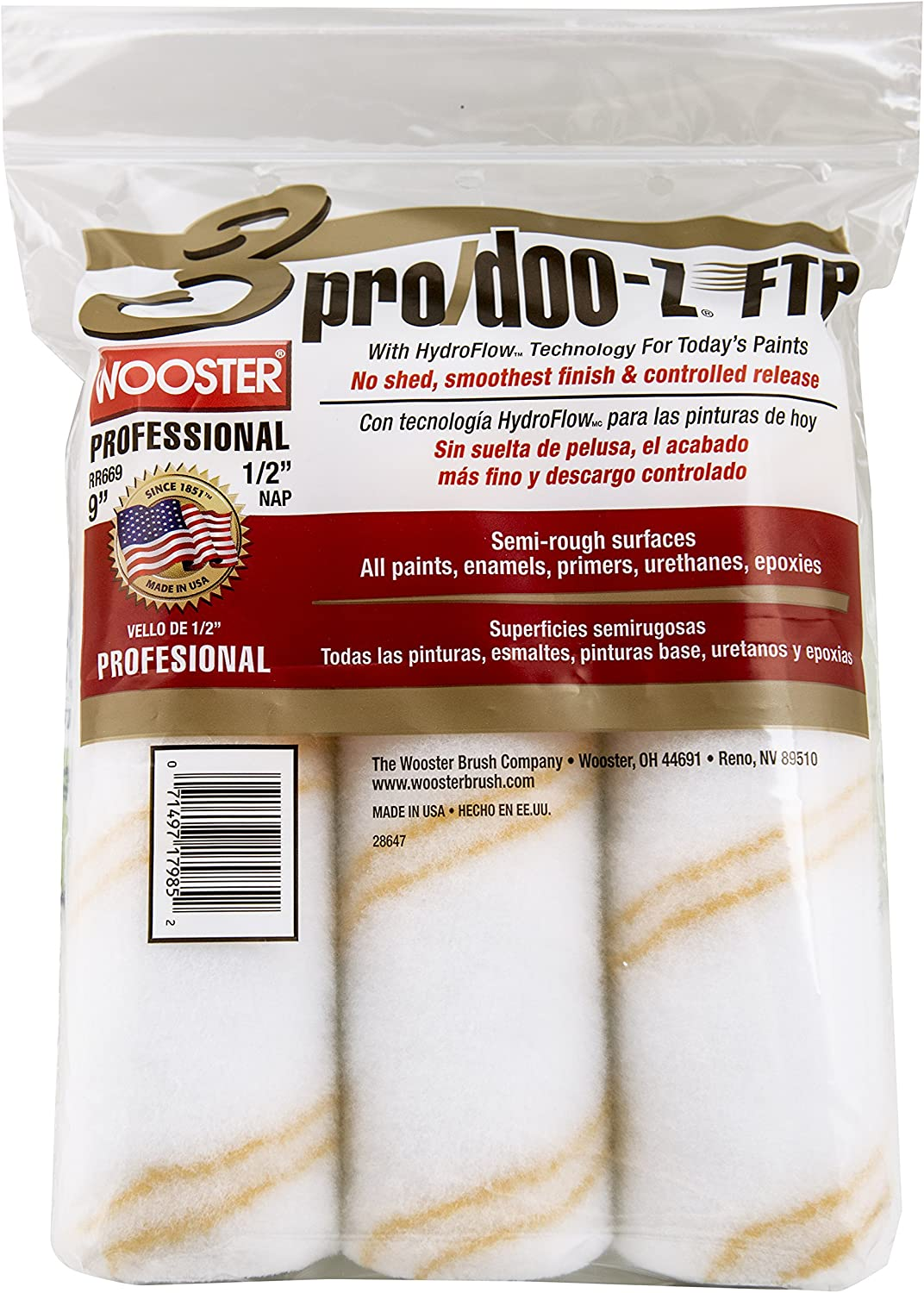 The Wooster Brush Company RR669-9 Pro Doo Z FTP Roller Cover 1/2-Inch Nap, 3-Pack