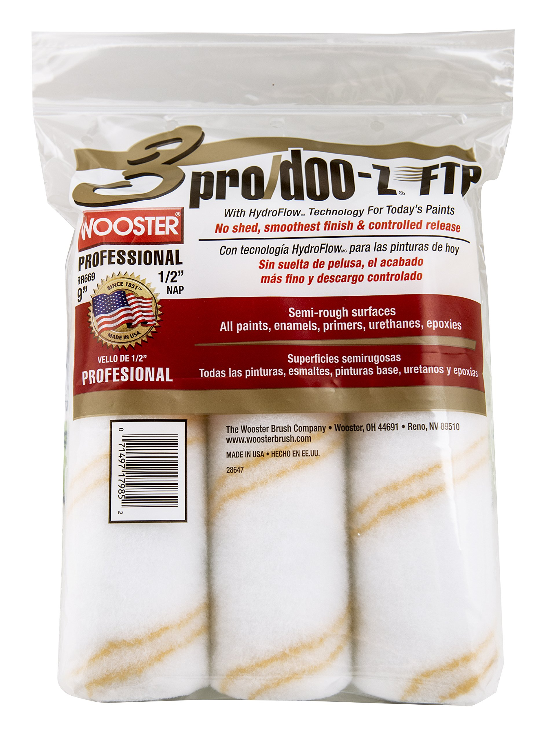 The Wooster Brush Company RR669-9 Pro Doo Z FTP Roller Cover 1/2-Inch Nap, 3-Pack by Wooster Brush