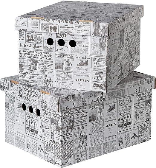 Juego de 2 cajas de almacenamiento decorativas con tapa para hogar, oficina, dormitorio, armario, varios usos, cartón, Newspaper, Large: Amazon.es: Hogar