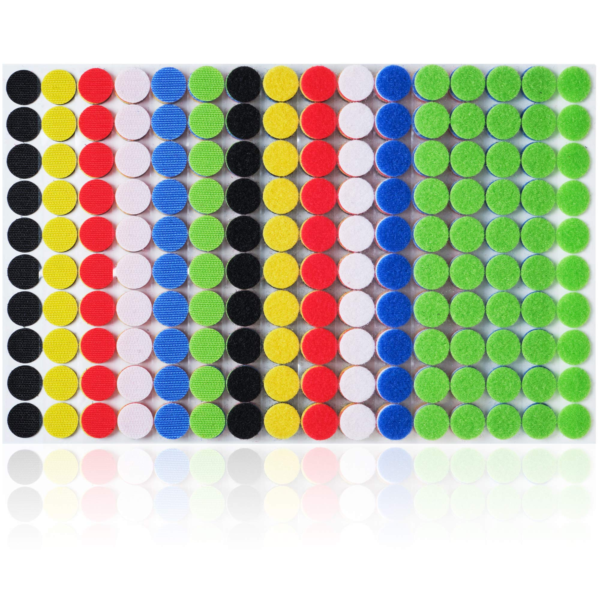Miracle Market 600 Pcs (300 Pairs) of Colorful Hook and Loop Self Adhesive Fastener Dots | Sticky Back ¾'' (20 mm) Diameter Heavy Duty Circles | Best for Home, Office, Classroom and Crafts | 6 Color by Miracle Market