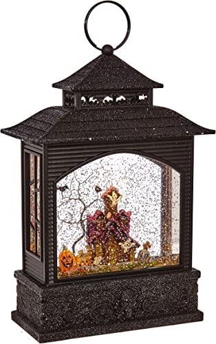 RAZ Imports 11 Inch Lighted Water Lantern Black Halloween Snow Globe with Continuous Swirling Glitter Haunted House