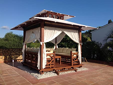 Exaco BG 10 Exquisite Handcrafted Solid Wood Gazebo with Sunbrella Canvas Roof, Red Brown