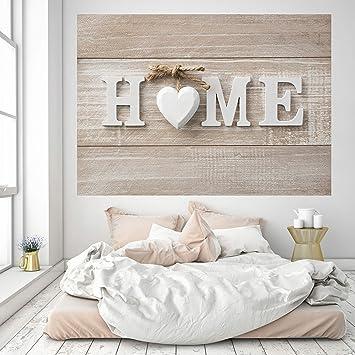 murimage Fototapete Home 3D 183 x 127 cm Holz Schild shabby chic Braun  Beige Herz Wohnzimmer Schlafzimmer Küche inklusive Kleister