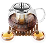 Tynx Glass Teapot with Infuser, 2-Double Wall Glass Tea Cups and Japanese Bamboo Tray, Microwave, Stovetop Safe (33.8 Oz)