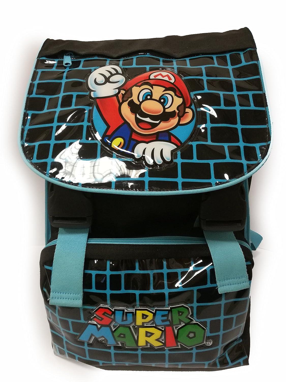 Mochila escolar extensible de lujo de Super Mario Bros – Azul y negro: Amazon.es: Juguetes y juegos