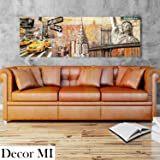 """Decor Mi New York Wall Art on Canvas Sunkissed Manhattan Chrysler Building Statue of Liberty NYC Wall Decor Prints Art Wood Framed Ready to Hang for Livingroom 16""""x47"""""""