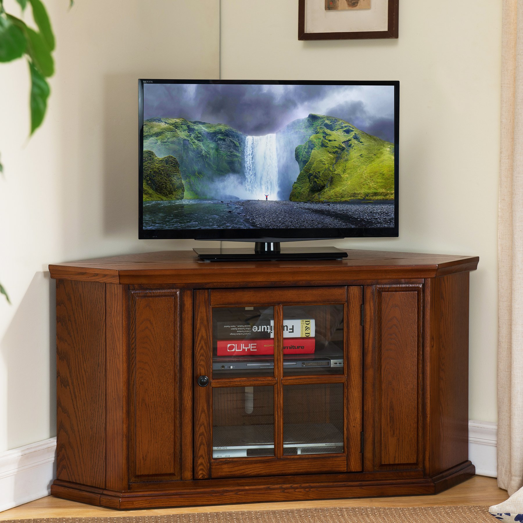 Leick Riley Holliday Corner Tv Stand 46 Inch Burnished Wood Oak