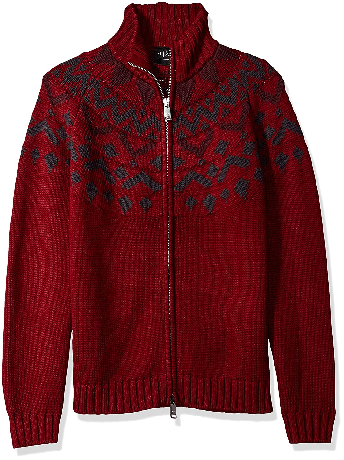 A|X Armani Exchange Men's Fair Isle Full Zip Mock Neck 6YZE1WZMN6Z