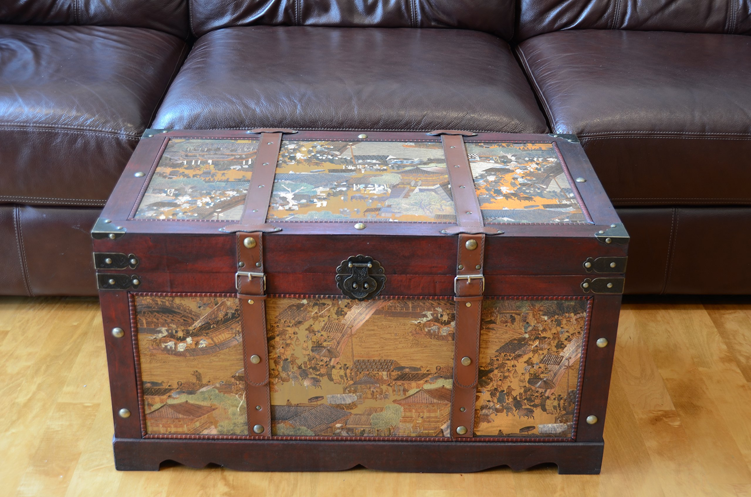 Ancient City Large Wood Storage Trunk Wooden Treasure Chest