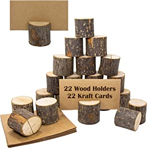 Upper Midland Products 22 Pcs Wood Card Holder Food Signs, Placecard or Display Labels for Wedding or Party