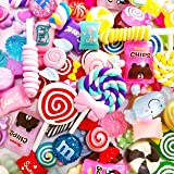 OCEAN HOME Slime Kawaii Charms, 60 Pieces Mixed Resin Buttons Candy Sweets Beads Supplies for DIY Crafts Accessories Scrapbooking (Set a)