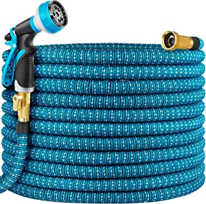 Yuharq 100ft Garden Hose Water Hose, Expandable Hose with Nozzle, Leakproof Lightweight Expanding Yard Hose with Solid Brass Fittings, Extra Strength 3750D Durable Gardening Flexible Hose Pipe
